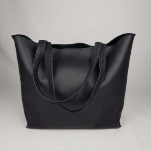 negro kožená kabelka